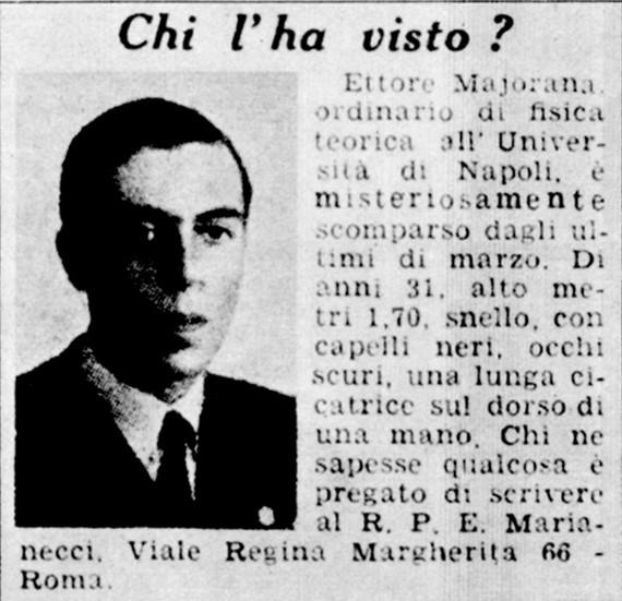 Ettore Majorana: la scomparsa
